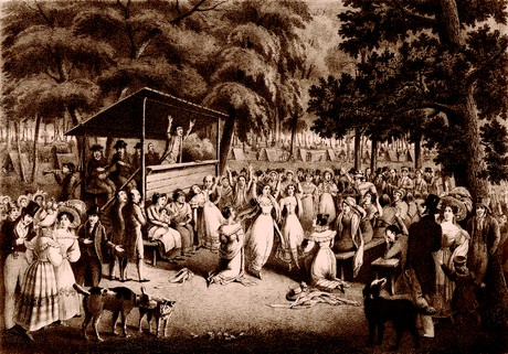 Lithograph depicting a revival or camp meeting