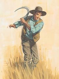 man scything grain