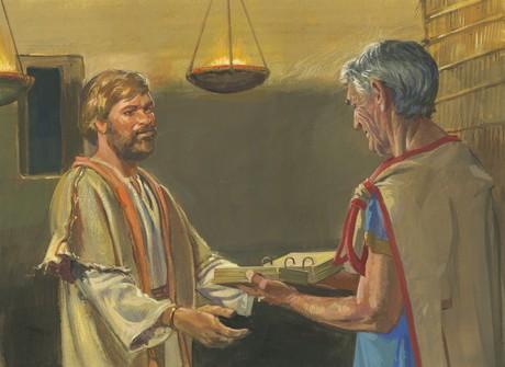 Nephi giving plates to Jacob