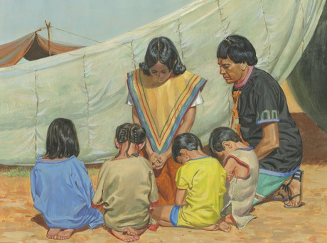 family praying
