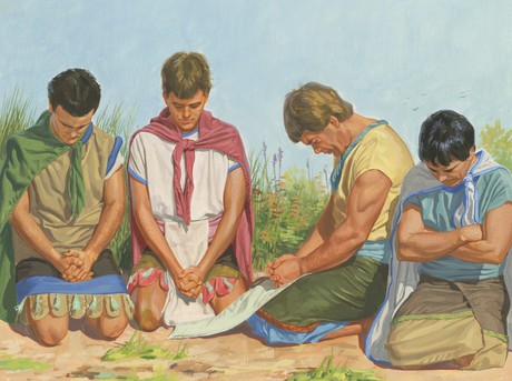 four sons praying
