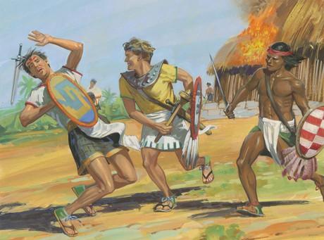 Nephites battling Lamanite-Amlicite army