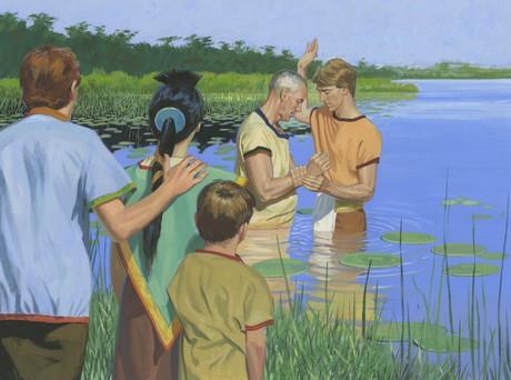Zeezrom being baptized
