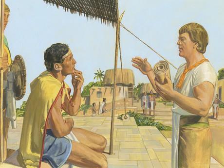 Ammon teaching Lamoni