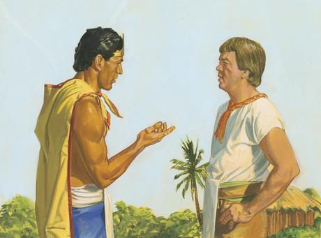 Lamoni talking with Ammon