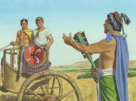 Ammon and Lamoni with Lamoni's father