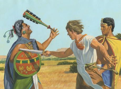 Ammon wounding Lamoni's father