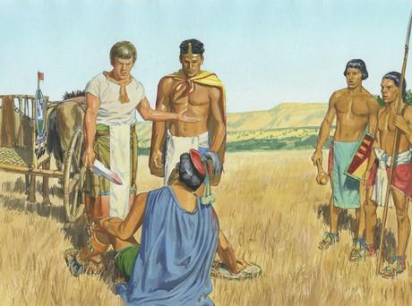 Ammon speaking to Lamoni's father