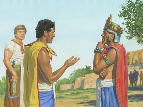 King Lamoni talking with king of Middoni