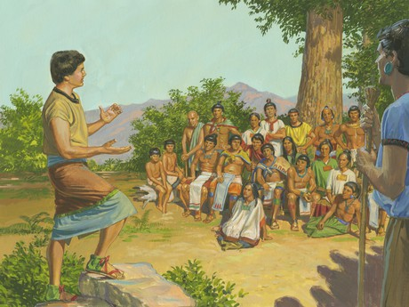 Mosiah teaching Lamanites