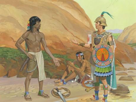 Zerahemnah giving Moroni weapons