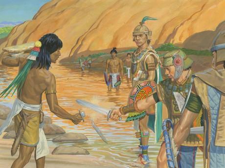 Nephite soldier breaking Zerahemnah's sword