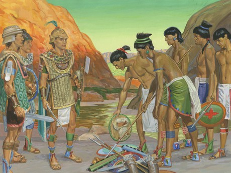 Lamanites giving up weapons