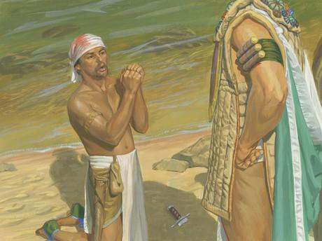 Zerahemnah begging Moroni