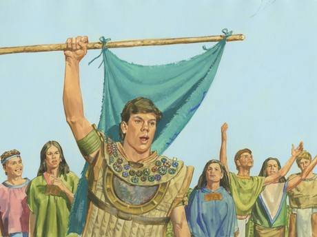 Moroni waving flag