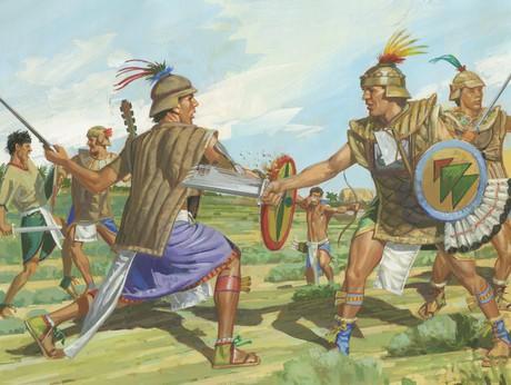 Nephites and Lamanites battling