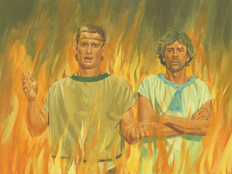 Nephi and Lehi in fire