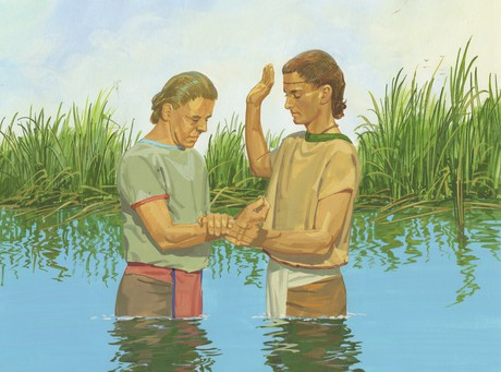 Nephi baptizing man
