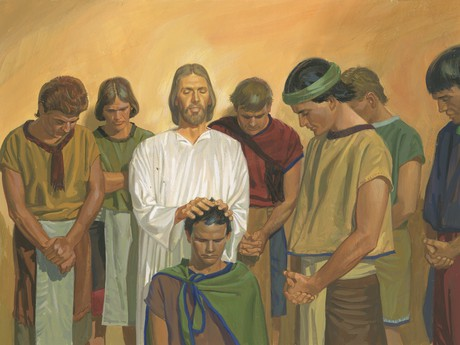Jesus giving men priesthood