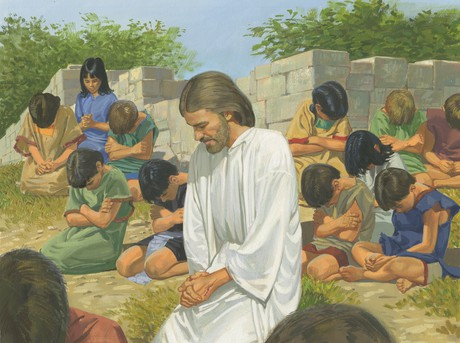 Jesus praying with children