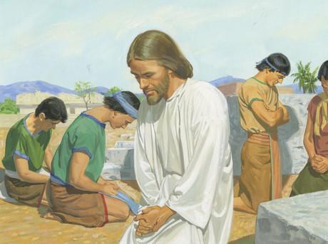 Jesus praying with disciples
