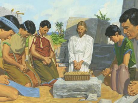 Jesus blessing bread