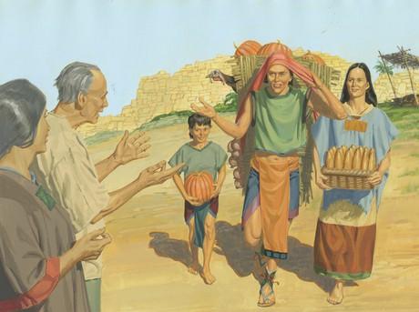 Nephites carrying pumpkins