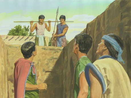 three disciples in deep pit