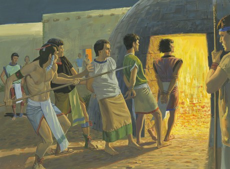 disciples being pushed into furnace