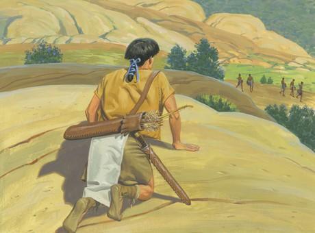 Moroni hiding from Lamanites