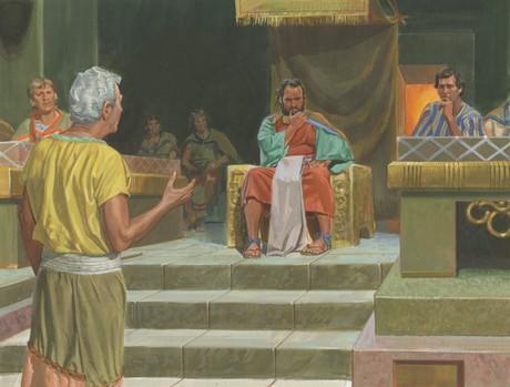 Abinadi talking to king