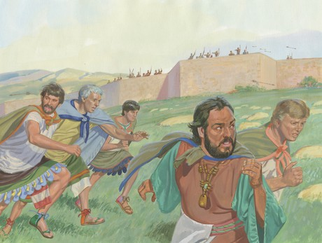 King and followers running away