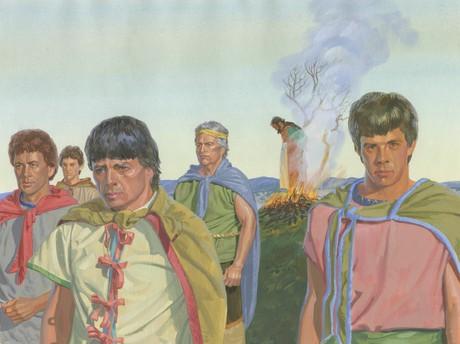 men burning King Noah