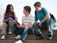 three youth talking