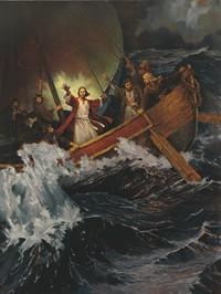 Jesus calming a storm
