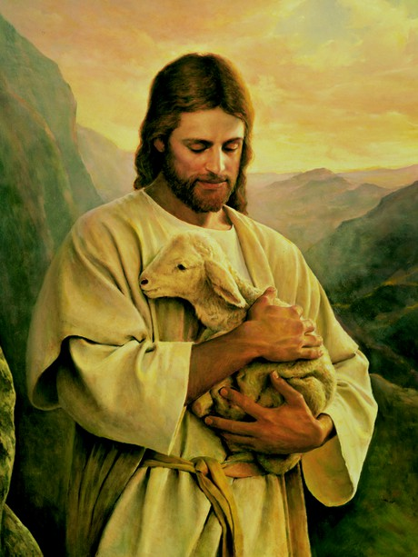 Christ holding lamb