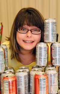 girl with cans