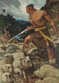 Ammon defending sheep