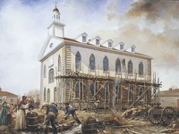 Kirtland Temple with scaffolding