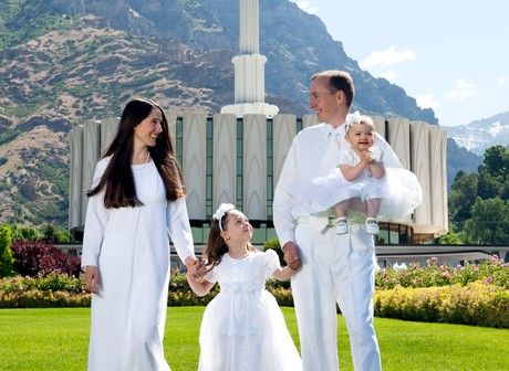 family at Provo, Utah temple