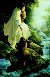 Christ helping children across river