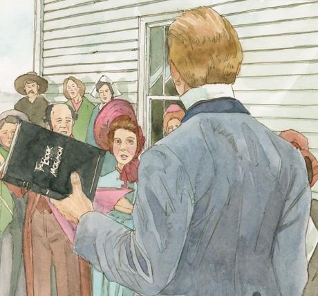 Joseph sharing Book of Mormon
