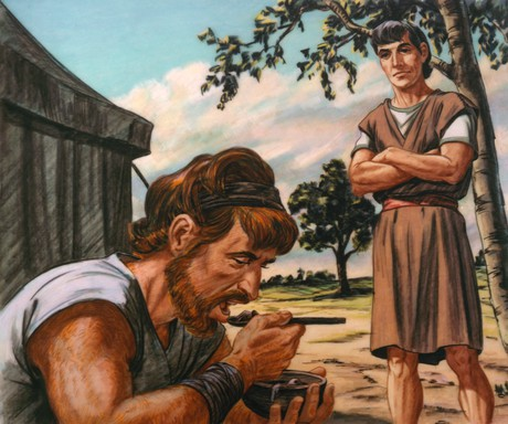 Esau eating