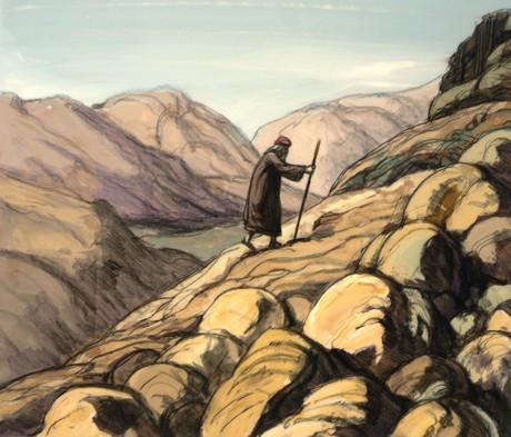 Moses walking up Mount Sinai