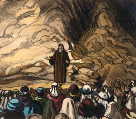 Moses speaking to Israelites