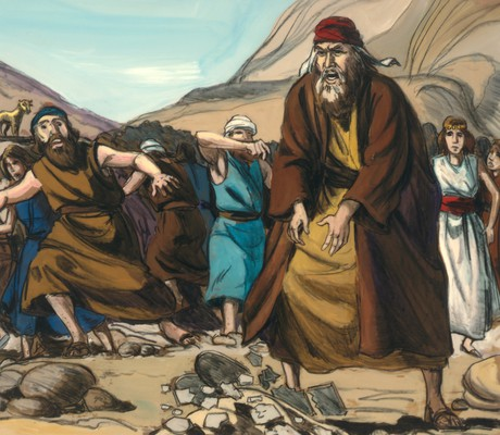 Moses throwing ten commandments