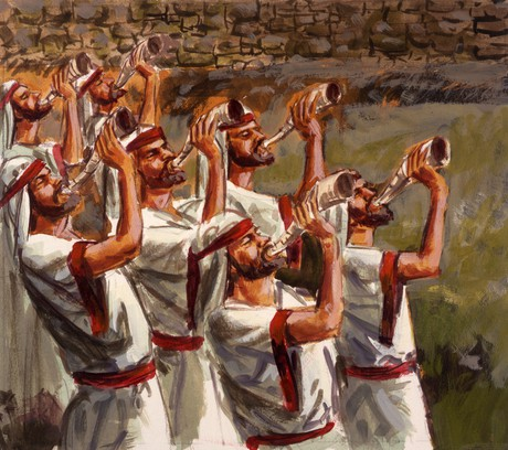seven priests blowing horns