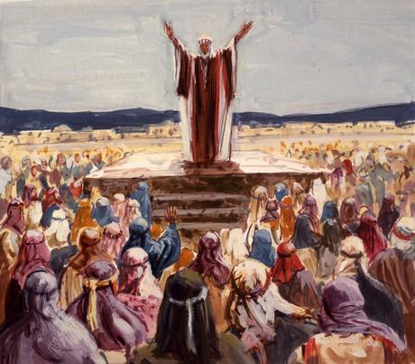 Joshua speaking to Israelites