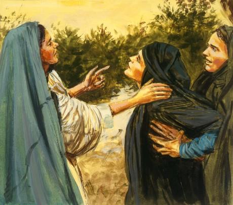 Naomi talking to Ruth and Orpah