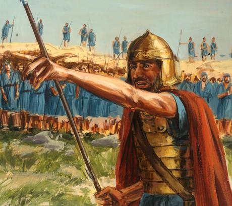 Saul leading Israelites in battle